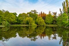 Park Ujazdowski is one of the most picturesque parks of Warsaw, Poland. Warsaw, Mazovia Province / Poland - 05/06/2019. Park Ujazdowski is one of the most stock image