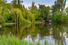 Park Ujazdowski is one of the most picturesque parks of Warsaw, Poland. Warsaw, Mazovia Province / Poland - 05/06/2019. Park Ujazdowski is one of the most stock photos