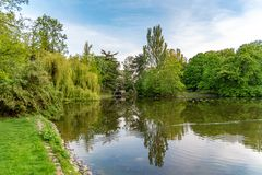 Park Ujazdowski is one of the most picturesque parks of Warsaw, Poland. Warsaw, Mazovia Province / Poland - 05/06/2019. Park Ujazdowski is one of the most stock photo