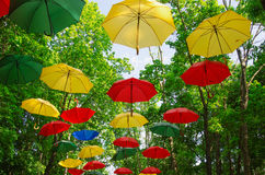 PARK, UMBRELLAS. RUSSIA, MOSCOW REGION, Colorful umbrellas in the sky. Street decoration in the park Royalty Free Stock Photos