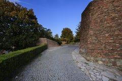Park und alte Backsteinmauern Stockfoto