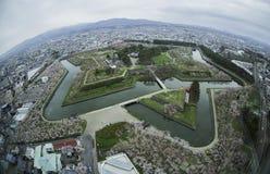 Park und Stadt Goryokaku in Hakodate, Hokkaido, Japan Stockfoto