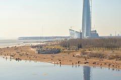Park van de 300ste verjaardag van het Centrum van Lakhta van St. Petersburg en van de wolkenkrabber Stock Afbeelding