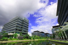 A park with various buildings. A modern park with many high technology buildings Stock Image