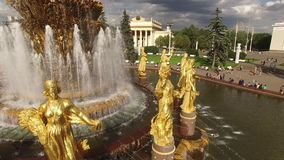 Park VDNKH in Moscow from above. Central fountains close look. Happy people. Unique aerial view. Best weather. Best stock video