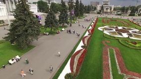 Park VDNKH in Moscow from above. Central walk and fountains. Happy people. Unique aerial view. Best weather. Aerial From above 4k stock video