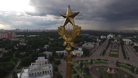 Park VDNKH in Moscow from above. Central walk and fountains. Happy people. Unique aerial view. Best weather. 4k stock video footage