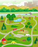 At The Park. Vector illustration of an aerial view of a park with people doing activities.  Eps10 Royalty Free Stock Photo