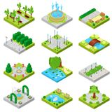 Park vector landscape of parkland with green garden trees and fountain or pond in city illustration set of isometric. Parkway in cityscape isolated on white Stock Image