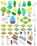 Park vector parkland with green garden trees with street lights or lamps and fountain in city illustration set of. Isometric parkway with benches and bins in Royalty Free Stock Photo