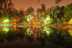 Park view. Bucharest Cismigiu park view, mirrored in the lake royalty free stock photos