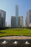 Park view in front of business towers in China. Park view in front of business towers in  Nanjing China Stock Image