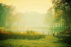 Park. View of the pond autumn season Stock Photography