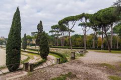 Park of villa Borghese in Rome, Italy Stock Image
