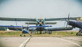 Park of vintage aircrafts. Mayskoe village, Dnepr region, Ukraine  June 19, 2016 : park of planes an-2. Skydiving centre Mayskoe in the Mayskoye village, Dnepr Royalty Free Stock Image