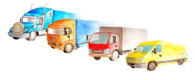 Park von LKWs, Lastwagen, Packwagen auf einem weißen Hintergrund lokalisiert in Aquarell sryle stockbild