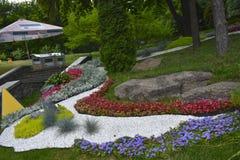 Park w Chińskiego stylu pięknym składzie kwiaty kolorowi Zdjęcia Royalty Free