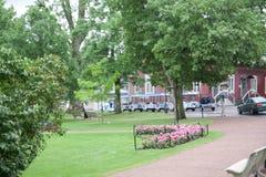 Park w historycznej ćwiartce Naantali, Finlandia zdjęcia royalty free