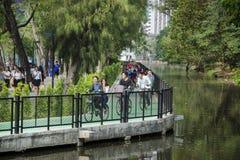 Park Wachira Benchathat, Bangkok, Thailand - 26. Februar: Gruppe des jungen Radfahrers auf Radweg Lizenzfreies Stockfoto