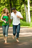 Park walk couple Royalty Free Stock Images