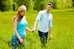 Park walk couple Stock Photos