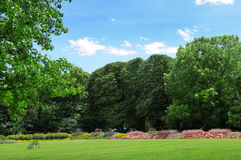 Park for walking and recreation. Park with lawns and flower beds for walks and rest stock image
