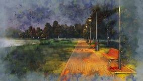 Park walkway at autumn night watercolor sketch royalty free illustration