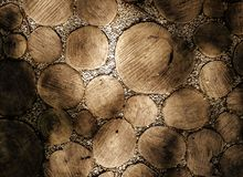 Park walkway made of natural round wooden logs Royalty Free Stock Photography