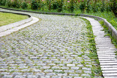 Park walkway of paving stones. Stock Image