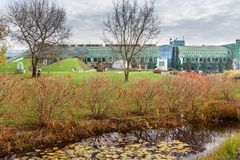 Park of Warsaw University Library in autumn. Poland. Warsaw, Poland - November 12, 2018: Park of Warsaw University Library building in autumn stock images