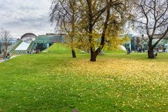 Park of Warsaw University Library in autumn. Poland. Warsaw, Poland - November 12, 2018: Park of Warsaw University Library building in autumn stock photography