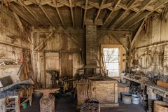 Santa Cruz, California - October 28, 2018: Old Carpenter Workshop at Wilder Ranch State Park. The park was formerly a dairy ranch, and many of the ranch royalty free stock photography
