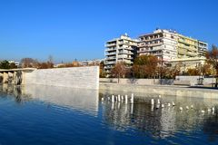 Park of Water, Thessaloniki seafront, Greece. royalty free stock photo