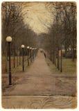 Park way. Vintage park way on postcard royalty free stock photo