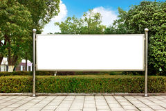 Park white billboard. Placed in the square royalty free stock photography