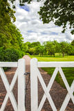 Park white wooden gate Royalty Free Stock Photography