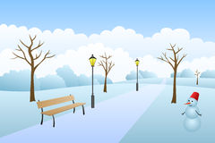 Park winter landscape snow day illustration Royalty Free Stock Photo