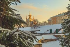 Park in winter at sunset. In Russia Royalty Free Stock Photography