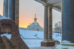 Park in winter at sunset. In Russia Stock Image