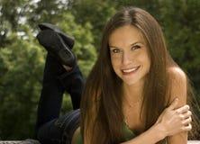 Woman Outdoors Laying Picnic Bench Park Stock Photos