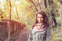 Park woman autumn path Stock Image