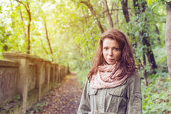 Park woman autumn path Royalty Free Stock Image