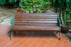 Park wooden bench Stock Image