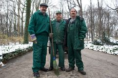 Park Workers in Warsaw, Poland Royalty Free Stock Photo