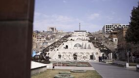 Park in Yerevan with cascade stairs, Armenia. Art. Historical architectural complex with many stairs, fountains, and