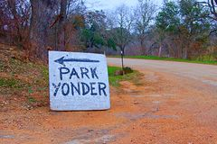 Park Yonder handmade sign Royalty Free Stock Photography