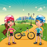 Park with young bikers. Funny cartoon and vector scene Royalty Free Stock Images