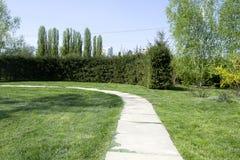 Park z długą drogą wzdłuż drzew Park z długą drogą wzdłuż drzew Piękny ranku światła park publicznie Obraz Stock