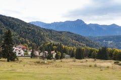 Parka Narodowego Trzy cedry Trei Brazi nie daleko od Rashnov miasteczka w Rumunia, Zdjęcie Stock