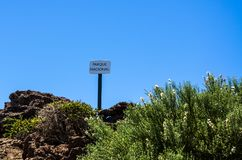 Parka Narodowego znak na Roque De Los Muchachos, los angeles Palma Zdjęcia Royalty Free